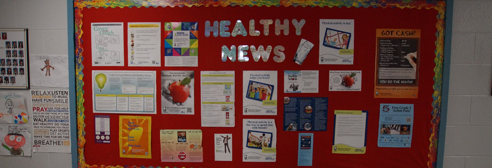 Healthy News bulletin board with various posters about mental health